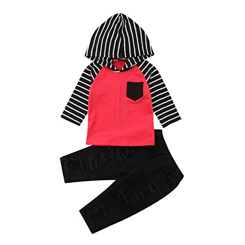 2Pcs Toddler Baby Boy Girl Outfit Striped Hoodie Tops+Ripped Denim Jean Pant Set (6-12 Months, Red Black) ()
