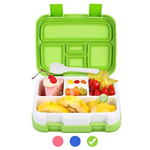 Bento Box for Kids School Lunch Box DaCool Upgraded Toddler Lunch Container with Spoon 5-Compartment Leak Proof Durable, Meal Fruit Snack Packing for Picnic Outdoors, Microwave Safe BPA-Free - Green (Best Kids Lunch Boxes For School)