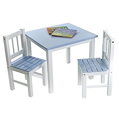 Lipper Kids Small Blue and White Table and Chair Set by Lipper International Inc