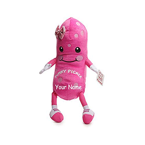 Fiesta Toys Personalized Pinky Pickle with Polka Dots and Shimmering Hair Bow Plush Stuffed Animal Toy with Custom Name - 12 Inches ()