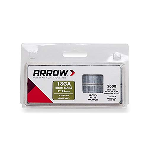 Arrow Fastener BN1816BCS 1-Inch Brown Brad Nails, 18-Gauge (1 Arrow)