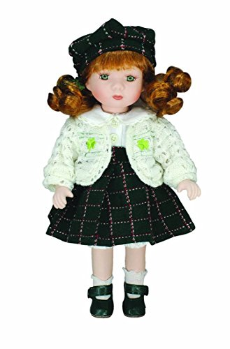 "12"" Erin Porcelain Doll With White Dress And Green Tartan Skirt"