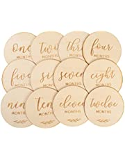 NUOBESTY Baby Monthly Milestone Wooden Cards Wooden Slices First Year Growth Cards Newborn Baby Photo Card Props, 12 Pieces