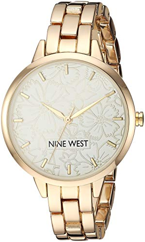 (Nine West Women's NW/2226CHGP Gold-Tone Bracelet Watch )