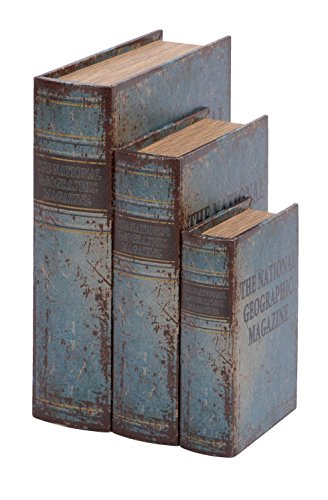 Faux Leather Book Boxes (Set Of 3), Blue