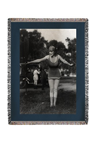Girl in Bathing Suit Holding Up Oar Photograph (60x80 Woven Chenille Yarn Blanket)