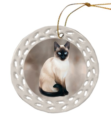 Thai Siamese Cat Christmas Doily Ceramic Ornament by Doggie of the Day