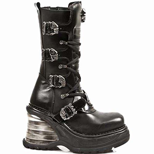 8374 Stock M Black 38 Plataform New S1 Leather Rock Plataform Size Metallic Women Metallic Ready Tafqxwg