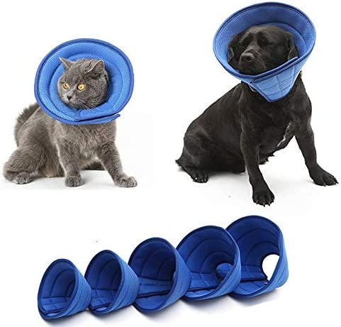 chunnron Halskrause für Haustiere Trichter Hund Buster Halsbänder für Hunde Recovery Collar Cone für Hautausschläge Einstellbare Haustiere Kegel Blue,2#