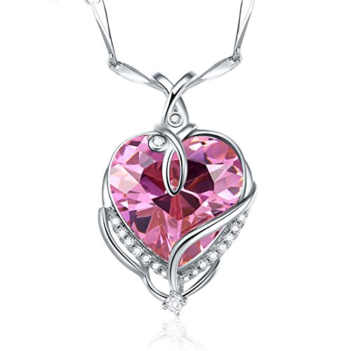 Merthus 925 Sterling Silver Created Pink Topaz Heart Pendant Necklace for Women