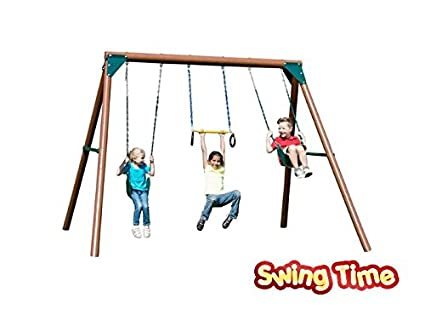 Amazon.com: Swing Sets For Backyard Wooden Kids Outdoor Kits Durable ...