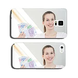 Attractive young woman holding lots of euro notes. cell phone cover case Samsung S5