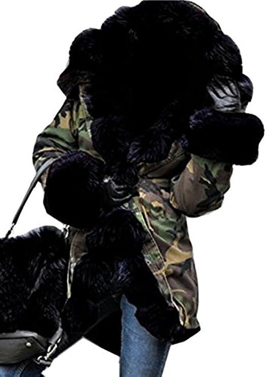 Casual Fensajomon Camouflage Slim Long Fur Winter Overcoat Womens Hoodie Collar CUqx5U1rw