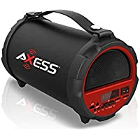 AXESS SPBT1037RD Portable Bluetooth Indoor/Outdoor 2.1 Hi-Fi Cylinder Loud Speaker with Built-In 4 Sub + Vibrating Disk and SD Card, USB, AUX Inputs in Red