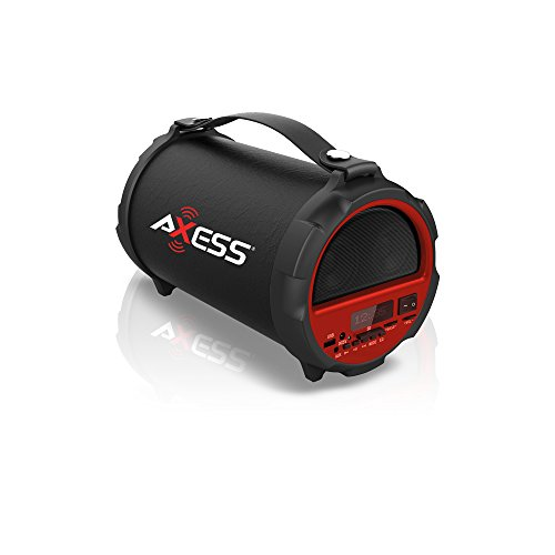 "AXESS SPBT1037RD Portable Bluetooth Indoor/Outdoor 2.1 Hi-Fi Cylinder Loud Speaker with Built-In 4"" Sub + Vibrating Disk and SD Card, USB, AUX Inputs in Red"