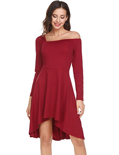 Donkap Women Strapless Asymmetric Neckline Elegant Casual Long Sleeve Sexy Solid Mini Dress(Wine Red XL) - Strapless Neckline Mini