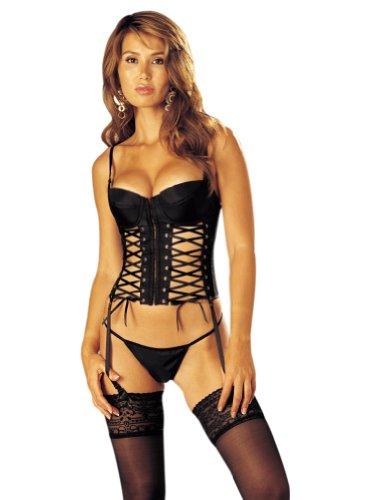 Sexy Satin Bustier 2 Pc. Set w/Multi-Grommet Ribbon Lace-ups (Black; Size 34A-34C)