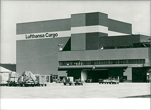 Vintage photo of lufthansa carge center in frankfurt germany