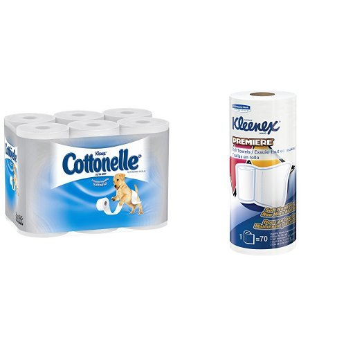Cottonelle Ultrasoft Toilet Paper (48 Rolls) & Kleenex Towels Premier Kitchen Paper Towels (24 Rolls) by Cottonelle
