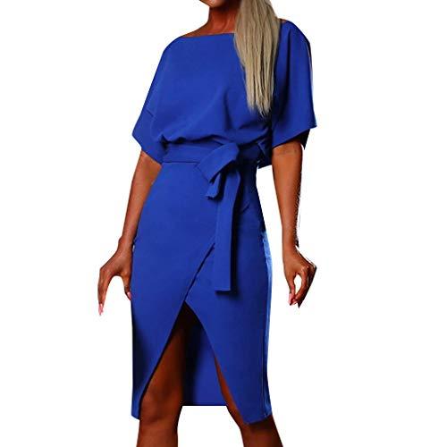 RAINED-Women's Summer Solid Belted Wrap Midi Dress Short Sleeve Side Split Tunic Dress Beach Casual Bandage Sundress Blue
