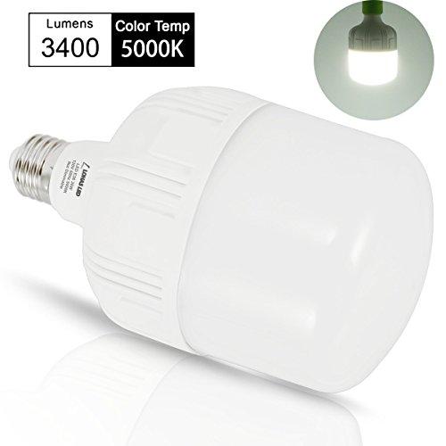 LOHAS 250W-300W Light Bulb Equivalent, 30W LED Bulb Daylight White 5000K with Free E26 to E39 Converter, 3400 Lumens, High Watt Commercial Retrofit LED Bulbs for Garage Warehouse Workshop(2 Pack) by LOHAS (Image #7)