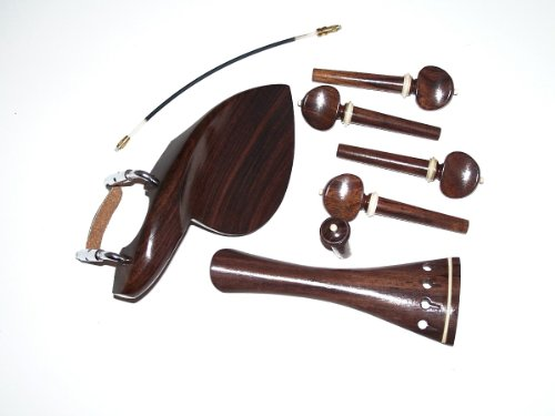 A 4/4 Violin Set of RosewoodParts, Wendling Chin Rest, Swiss Pegs, End Pin, French Tail Piece W White Trim, and Tail Gut VWWS by Violin Woodworkshop