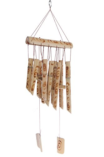 Inspirational Bamboo Wind Chime - Light Brown Indoor Outdoor Wooden Melody Bamboo Wind Bell Wind Chimes Large Home Outdoor - Chime Chimes Wind Bamboo