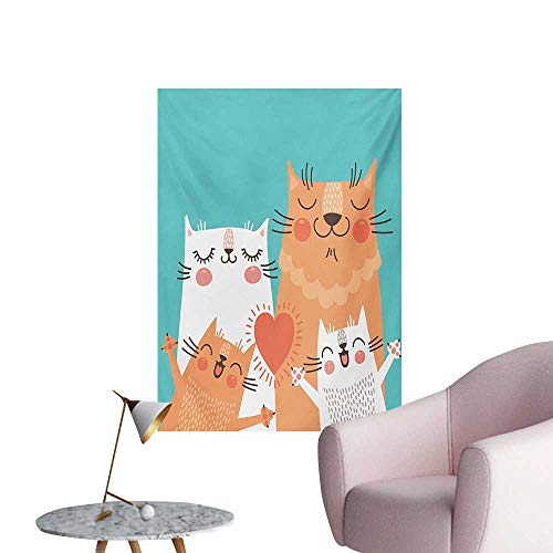 Funny Photographic Wallpaper Cute Kitten Couple Sweet Happy Paws Loving Heart with Family Cats Poster Style AnimalMulticolor W24 xL36 Cool -