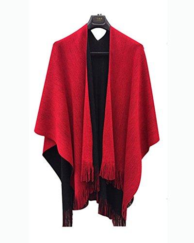 Echarpe Poncho Chaud Fringe Manteau Femme Grande Chale Cardigans Avec Rouge Cape Taille De Cape w4qaT0Iq