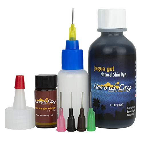 Henna City Premium Jagua Gel - 2 Ounces for Temporary Tattoos, Fake Tattoos or Semi Permanent Tattoos. Use with Henna Cones or Henna Stencils. Organic Jagua Ink. Compare with Henna Tattoo Kit.
