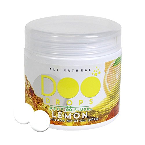 NEW- Lemon Doo Drops- Toilet Odor Eliminating Tablets -Drop.Go.Flush / Home & Office / Traps the smell so no one can tell- 50 Flushes / Professional Grade