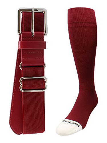 (MadSportsStuff Pro Line Baseball Socks and Belt Combo (Cardinal, Large))