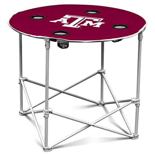 Texas A&M Aggies Collapsible Round Table with 4 Cup Holders and Carry Bag Texas A&m Tailgate