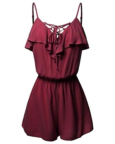 - Womens Sexy Strappy Jumpsuit Rompers V Neck Criss Cross Ruffle Sling Summer Loose Wide Leg Short Overall Red