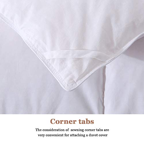COSYBAY 100% Cotton Quilted Down Comforter White Goose Duck Down and Feather Filling - All Season Duvet Insert or Stand-Alone - Queen Size(90×90 Inch)
