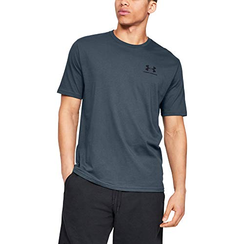 Under Armour mens Sportstyle Left Chest Short Sleeve T-Shirt, Wire (073)/Black, Large (Under Armour Heatgear Short Sleeve T Shirt Mens)