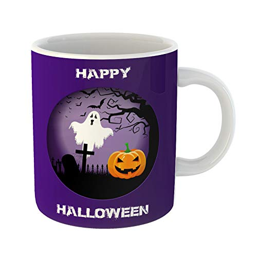 Emvency Coffee Tea Mug Gift 11 Ounces Funny Ceramic Bats Halloween Spooky Landscape in Cutout Blood Evil Gifts For Family Friends Coworkers Boss Mug]()