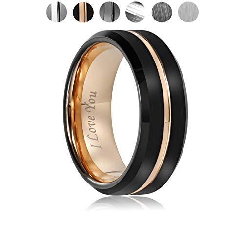 Mens Wedding Rings Band Tungsten Carbide Ring for Women Engagement Band 6mm 8mm Comfort Fit Engraved 'I Love You'