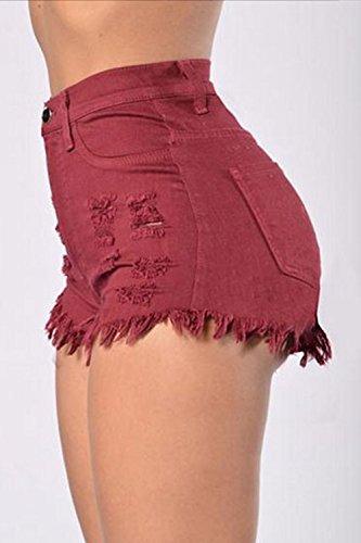 Ringered Hot Cintura con Mujeres Jeans Casual Shorts Flecos De Sevozimda Denim Wined Las Alta CRqw8qZz