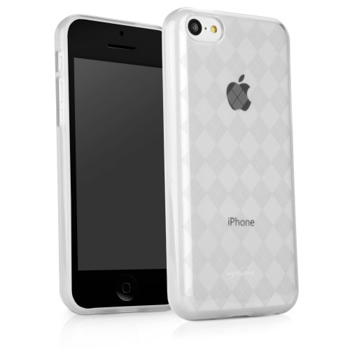 (iPhone 5c Case, BoxWave [Argyle Crystal Slip] Slim-Fit, Preppy Gel Skin Cover w/ Diamond Design for Apple iPhone 5c - Frosted Clear)