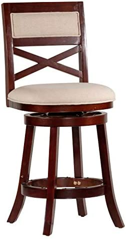 DTY Indoor Living Meeker X Back Upholstered Swivel Stool, 24 Counter Stool, Espresso Finish, Beige Upholstered Seat