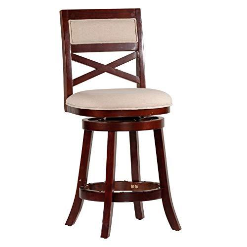 DTY Indoor Living Meeker X Back Upholstered Swivel Stool, 24 Counter Stool, Espresso Finish, Beige Upholstered Seat