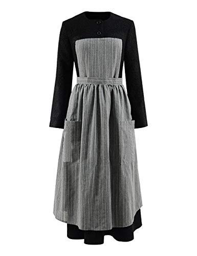 RongJun Womens Maria Costume Halloween Cosplay Music Sound Black Dress with Gray Apron (L, Black) ()