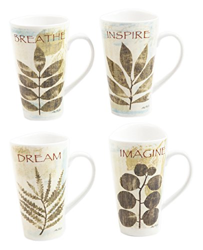 Gibson Home 92977.02RM Nature Pressed 2 Piece, 16 Ounce Breath and Inspire Mugs, - Stoneware Pressed