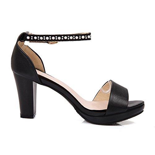 VogueZone009 Damen PU Leder Eingelegt Schnalle Hoher Absatz Sandalen mit Hohem Absatz Schwarz