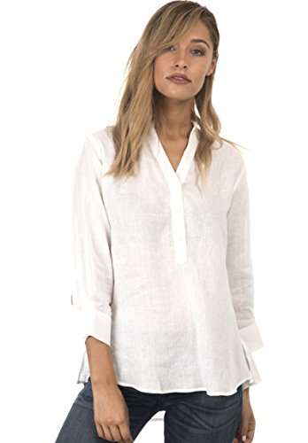 CAMIXA Women's Casual Button-up Popover Shirt Effortless Work to Weekend Basic XL White (Linen White Blouse)