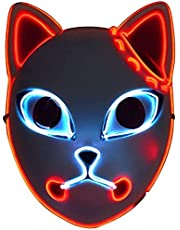 Demon Slayer Light Up Headdear Mask, LED Gloeiende Japanse Anime Masker Halloween Props Decoraties Cosplay Masks