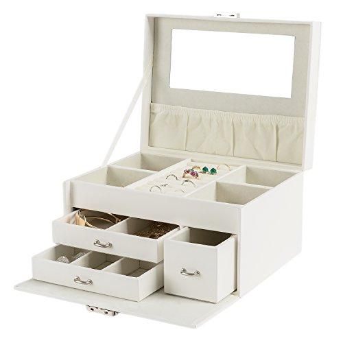 HollyHOME Jewelry Box Lockable Mirrored Jewelry Storage Organizer Holder for Girls Women,Beige