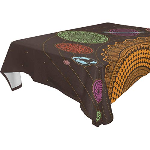 Table Cloth Earth Esoteric Planets Rectangle/Oblong Polyester Tablecloth Washable Table Cover for Dinner Picnic, Buffet Table, Parties]()