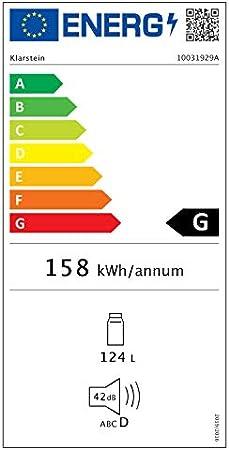 Klarstein Beersafe XL - Minibar, Nevera para bebidas, Refrigerador, Silencioso, Puerta de cristal, Iluminación LED, Acero inoxidable, Clase G, 48 x 85 x 60 cm, Volumen 124 L, Negro[Clase de eficiencia energética G]